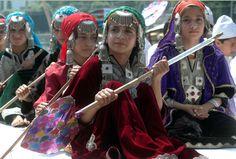 Children in Pheran, the traditional Kashmiri dress - mix of Indian & Iranian clothing