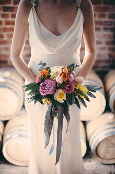 such a sweet bouquet, photo by JBM Wedding Photography http://ruffledblog.com/bold-geometric-wedding-inspiration #flowers #weddingbouquet