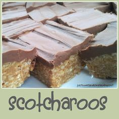 just Sweet and Simple: Scotcharoos: Chocolate Butterscotch Bars  Made these for years with Special K cereal. Rice Crispies would be nice as well.