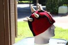 Crochet Star Wars Darth Maul Free Pattern for an adult man - Knot My Designs #KnotMyDesigns #handmade #crochet #madetoorder #StarWars #DarthMaul #CrochetStarWars #CrochetDarthMaulBeanie #CrochetBeanie #Beanie #AdultBeanie