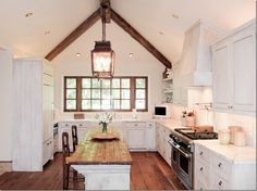 via Cote de Texas, love the lanterns Log Home Kitchens, Kitchen Family Rooms, Cottage Kitchens, White Kitchens, Murphy Beds, Milk Paint Cabinets, Painting Cabinets, Furniture Slipcovers, The Ranch