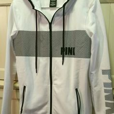 VICTORIAS SECRET PINK REFLECTIVE FLEECE HOODIE S New in plastic victorias secret love pink reflective full zip fleece hoodie. ..white. .size small. ..listing is for one jacket only. ..I do have two available PINK Victoria's Secret Jackets & Coats