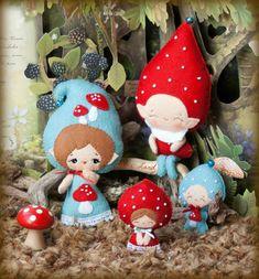 PDF. Gnome family. Murshroom elves. Plush Doll Pattern, Softie Pattern, Soft felt Toy Pattern. via Etsy