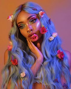 40 top best of the best nyane lebajoa hair and makeup loooks we absolutely love from bold wigs in different colors to stunning makeup looks. Blue Wig, Hair Color Blue, Cool Hair Color, Teal Blue, Make Up Looks, Aesthetic People, Aesthetic Hair, Cute Makeup, Hair Makeup