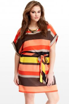 Plus Size Short Sleeve Stripe Belted Tunic | Fashion To Figure