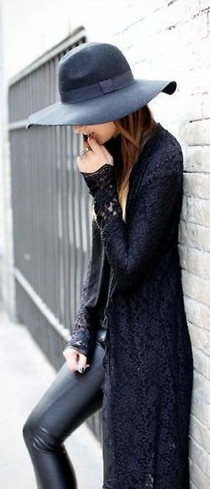 Lace Cardigan and Felt Hat chic