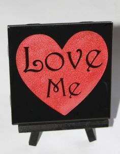 Red and Gloss Black Love Me Tile