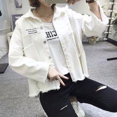 L610 Wholesale Fashion Clothing 2017 Women Denim Jacket Fall & Winter White & Black Print Irregular Hem Jean Coats Plus Size - Buy Custom Denim Jacket,Printing Denim Jacket,Women Coat Product on Alibaba.com