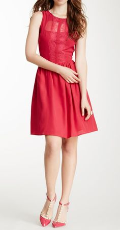 Lace Accent Pleated Dress <3 the shoes