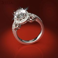 360 View of Unique Side Heart Design  White Sapphire Engagement Ring & Promise Ring