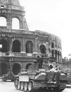 """bmashina: """"""""Panther"""" 1st battalion of the 4th tank regiment of the Wehrmacht moves to the Coliseum through the street of the Empire. Rome. The Kingdom Of Italy. February 1944 """""""