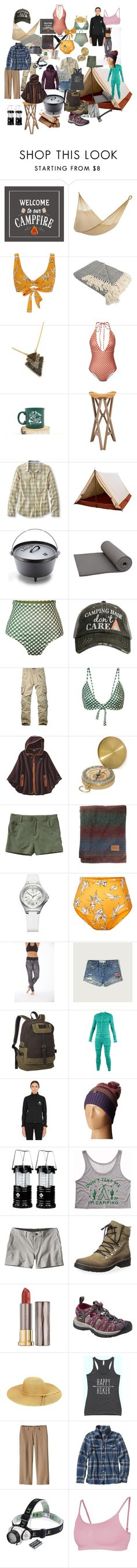 """Let's camp"" by greenrain ❤ liked on Polyvore featuring Yellow Leaf Hammocks, Camp Cove, L.L.Bean, ALPS Mountaineering, Katydid Collection, Patagonia, GSI Outdoors, Pendleton, Swiss Army and Electric Yoga"