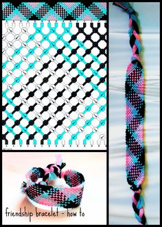 pink, blue & black friendship bracelet - tutorial