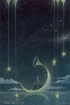 """Midnight Jazz"" - Illustration by Toshio Ebine Art And Illustration, Illustrations, Sun Moon Stars, Moon Art, Fantasy Art, Fairy Tales, Art Photography, Street Art, Whimsical"