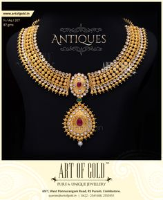A mesmerising ‪#‎Bridal‬ #Necklace from Art of Gold! Details here - http://artofgold.in/?p=5197