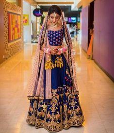 100 Latest Designer Wedding Lehenga Designs for Indian Bride - LooksGud. Indian Bridal Wear, Indian Wedding Outfits, Bridal Outfits, Indian Outfits, Indian Wear, Blue Bridal, Indian Clothes, Indian Weddings, Blue Wedding