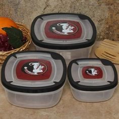 Florida State Seminoles (FSU) 3-Pack Square Food Containers  http://sportro.se/1m