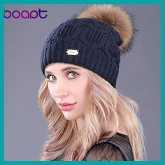 [boapt] Double-deck Knitted Wool Real Natural Raccoon Fur Pompon Hat Female Winter Braid Cap Headgear For Women Skullies Beanies