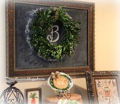 Priscillas: Boxwood Wreath Chalkboard