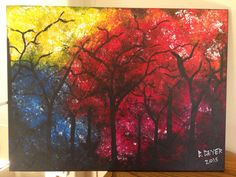 First painting for 2015. Spectrum forest