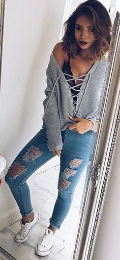 #summer #outfits Grey Lace-up Top + Ripped Skinny Jeans + White Converse ✨