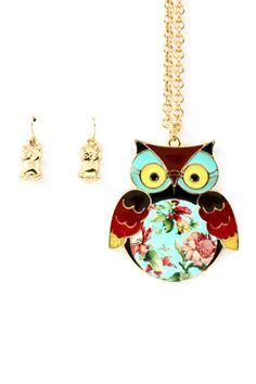 Owl necklace and earring set