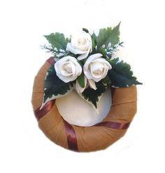 vertexes-koszorualap-feher-rozsaval-15cm Floral Wreath, Wreaths, Home Decor, Jute, Crowns, Floral Crown, Decoration Home, Door Wreaths, Room Decor