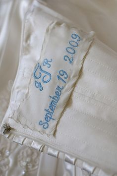 """Something Blue"" Married monogram and wedding date embroidered on a piece of mother's wedding gown"