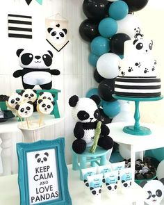 New Baby Shower Ides Decoracion Panda 16 Ideas Panda Decorations, Baby Shower Decorations For Boys, Balloon Decorations Party, Boy Baby Shower Themes, Baby Shower Parties, Baby Boy Shower, Shower Party, Panda Themed Party, Wild One Birthday Party