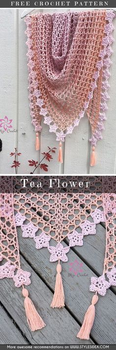 Mimosa Shawl - Mimosa Huivi Free Crochet Pattern Maestrale Shawl Free Pattern Klaziena Shawl Free Pattern Tea Flower Tea Flower is another stunning and fabulous, Shawl Patterns, Knitting Patterns, Crochet Patterns, Crochet Stitches, Free Knitting, Crochet Shawls And Wraps, Crochet Scarves, Crochet Clothes, Lace Shawls