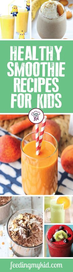 Healthy Smoothie Recipes For Kids - Smoothies are great way to get your kids eating healthy foods, like veggies and fruits without all the fussing. Try these great and amazing healthy smoothie recipes for kids. From a hidden vegetable smoothie to an apple Smoothie Recipes For Kids, Breakfast Smoothie Recipes, Fruit Recipes, Baby Food Recipes, Kid Recipes, Whole30 Recipes, Fruit Snacks, Blender Recipes, Toddler Recipes