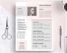 Curriculum vitae modèle de rose / Pink CV modèle / modèle de CV créatif Design professionnel de CV modèle / Téléchargement instantané CV modèle Word