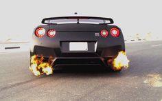 Nissan GT-R flames!