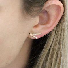 Diamond half bar earrings. 14k yellow gold #diamonds  #finejewellery  #doublebay…
