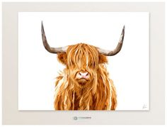 highland cow digital painting, cow themed wall art, chestnut brown highland cow