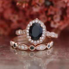 Black and White Diamond Vintage Floral Engagement Ring Wedding Set in 14k Rose Gold 8x6mm Oval Cut Black Spinel Gemstone Ring (Mix & Match)
