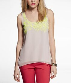 NEON EMBROIDERED CUT-OUT BACK TANK at Express So fresh for Spring
