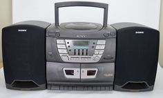 Sony CFD-ZW155 CD Player Dual Cassette Player AM/FM Radio Mega-Bass Boombox  #Sony