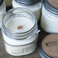 Mason Jar Wood Wick Soy Candle - Woodfire Candle Co - Tobacco & Honey