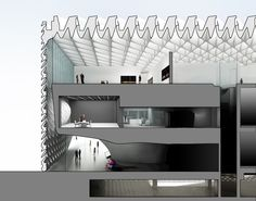 Image 11 of 14. Section through the museum showing the three floors and the cantilevered portions of the second and third floors; image courtesy of The Broad and Diller Scofidio + Renfro