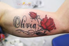 name tattoo with rose