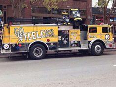 Go Steelers Here We Go Steelers, Pittsburgh Steelers Football, Pittsburgh Sports, Steelers Stuff, Steelers Terrible Towel, Steeler Nation, Emergency Vehicles, Fire Trucks, Cool Cars