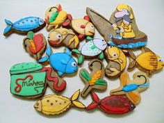 fishing cookies...in spanish...but really cute idea