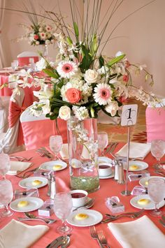 Wedding Decoration Ideas Coral Wedding Decor Ideas With Flowers In Glass Vase On. Wedding Decoration Ideas Coral Wedding Decor Ideas With Flowers In Glass Vase On Round Table Also White Covered Chairs L. Coral Wedding Centerpieces, Tall Vase Centerpieces, Coral Wedding Flowers, Centrepieces, Wedding Navy, Big Flowers, White Flowers, Turquoise Coral Weddings, White Dendrobium Orchids