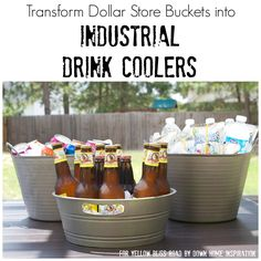 Transform plastic Dollar Store bins into chic, Pottery Barn style industrial drink coolers!