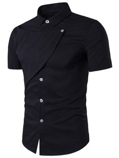 Turndown Collar Short Sleeve Novelty Placket Shirt - BLACK L