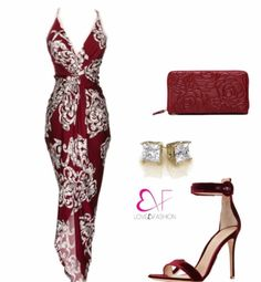 Wine colored dress with floral design and split open front and spaghetti straps Sexy Dresses, Cute Dresses, Evening Dresses, Fashion Dresses, Classy Outfits, Chic Outfits, Dress Skirt, Dress Up, Wine Colored Dresses