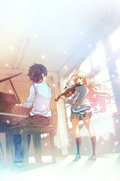your lie in april kousei and kaori wallpaper - Google Search