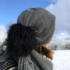 Our oversized slouchy beanie being tested in the snow. In a cotton and cashmere blend available in charcoal and oatmeal.  #beanie #slouchybeanie #grey #charcoal #knit #knitwear #cotton #cashmere #snow #style #pompom #scraffsstyle