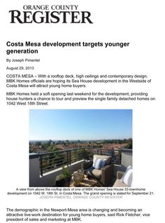 MBK Homes Targets Gen Y - Featured in the O.C. Register